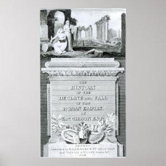 A história da diminuição e queda de romano pôsteres