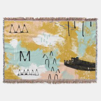 A hortelã abstrata tribal da arte da paisagem cora cobertor