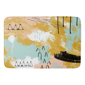 A hortelã abstrata tribal da arte da paisagem cora tapete de banheiro