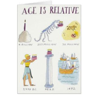 A idade é relativa cartão comemorativo