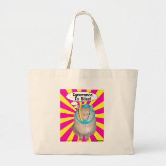 A ignorância do gatinho do hippy é felicidade! bolsa tote grande
