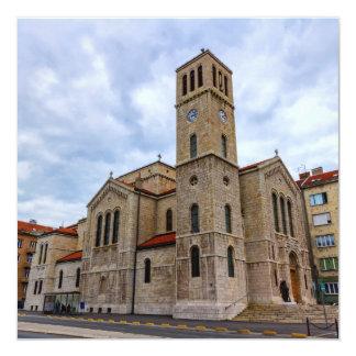 A igreja de St Joseph em Sarajevo. Bósnia e Herz Convite Quadrado 13.35 X 13.35cm