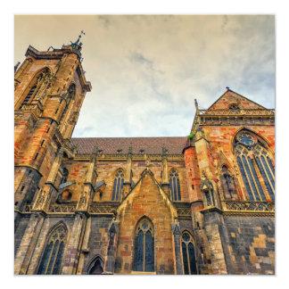 A igreja de St Martin, Colmar, France Convite Quadrado 13.35 X 13.35cm