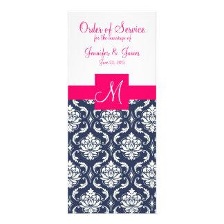 A igreja do casamento programa o damasco azul cor- convites personalizado