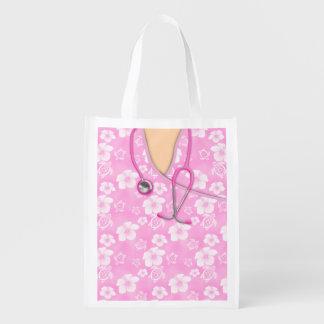 A ilha cor-de-rosa e branca do hibiscus médica sacola ecológica para supermercado