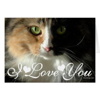 A imagem da foto dos olhos de gato eu te amo cartão comemorativo