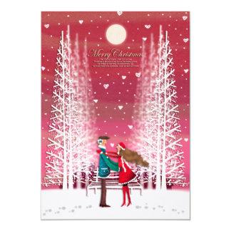A imagem do Natal do casal feliz Convite 12.7 X 17.78cm