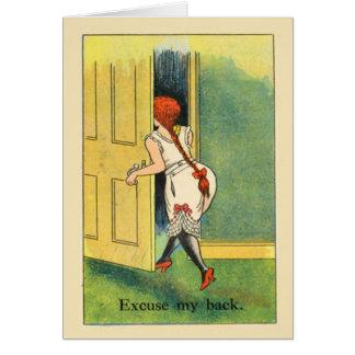 A imagem do vintage da réplica, desculpa minha cartão comemorativo