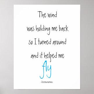 A inspiração do poster o vento ajudou-me a voar