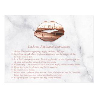 A instrução de mármore da composição dos lábios cartão postal