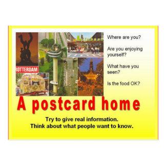 A instrução, escrita do viagem, escreve uma casa cartão postal