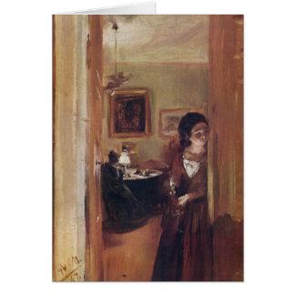 A irmã do artista da sala de visitas - Adolph Von  Cartao