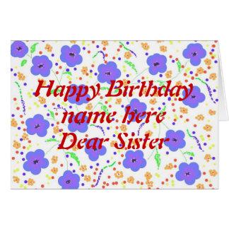 A irmã do cartão do feliz aniversario adiciona sua