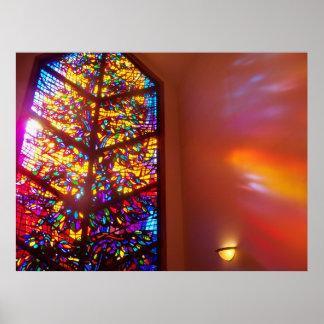 A janela ao poster da igreja do vitral do céu