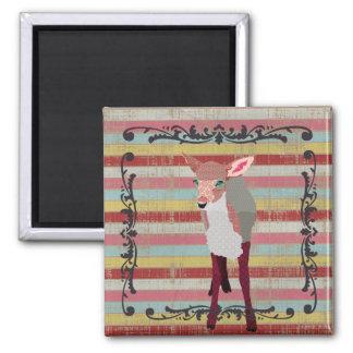 A jovem corça cor-de-rosa do vintage listra o ímã ímã quadrado