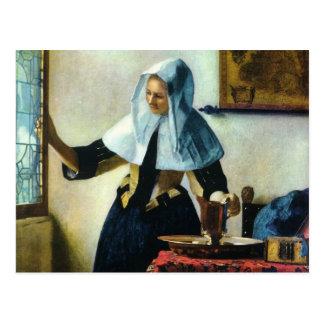 A jovem mulher de Vermeer com um jarro Ca 1665 da  Cartão Postal