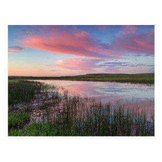 A lagoa da pradaria reflete nuvens brilhantes do cartoes postais