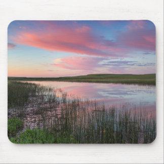 A lagoa da pradaria reflete nuvens brilhantes do mouse pad