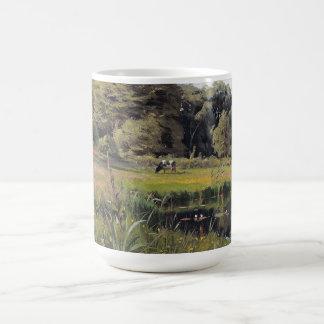 A lagoa Waterlilies do verão cobre a caneca de