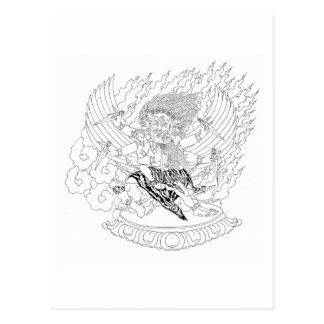 A lápis desenho de Dorje Phurba [cartão] Cartão Postal
