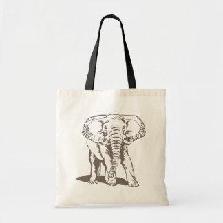 A lápis desenho do elefante sacola tote budget