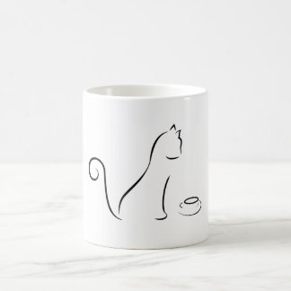 A lápis desenho do gato com copo caneca
