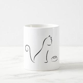 A lápis desenho do gato com copo caneca de café