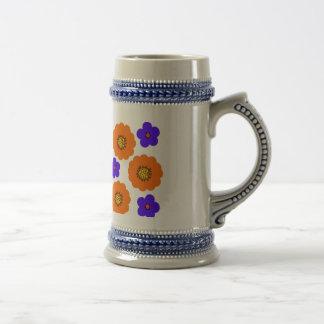 A laranja azul floral projeta canecas dos jarros