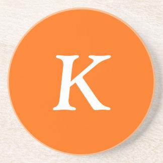 A laranja da segurança rotula a cor sólida porta-copos de arenito