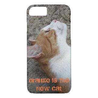 A laranja é o iPhone novo do gato 8/7 de capa de