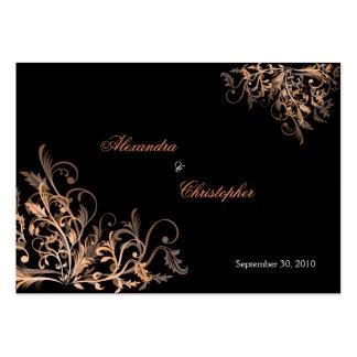 A laranja elegante roda o anúncio MI do casamento Cartão De Visita Grande