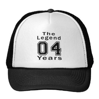 A legenda 04 anos de presentes de aniversário boné