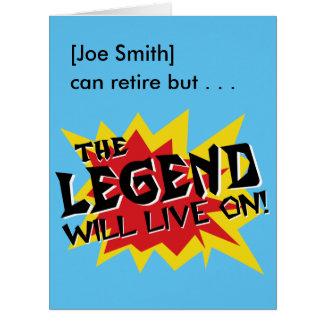 A legenda do partido de aposentadoria viverá sobre cartão comemorativo grande