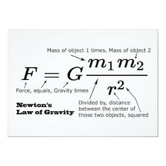 A lei de Newton da gravitação universal Convite 12.7 X 17.78cm