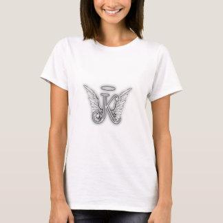 A letra inicial do alfabeto K do anjo voa o halo Camiseta
