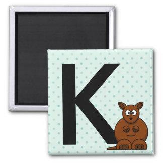 """A """"letra K"""" é para os ímãs das crianças do canguru Ímã Quadrado"""