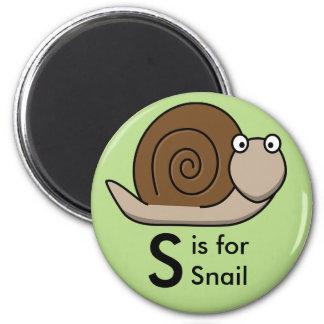 """A """"letra S"""" é para os ímãs das crianças do caracol Ímã Redondo 5.08cm"""