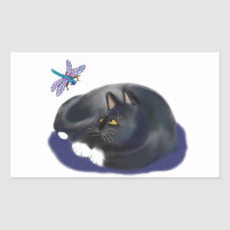A libélula zumbe um gato de descanso adesivo retangular