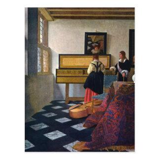 A lição de música de Johannes Vermeer (circa1663) Cartoes Postais
