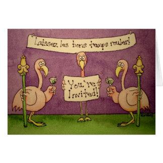A linha do flamingo convida o carnaval do cartão