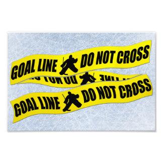 A linha do Goalie do hóquei não se cruza Impressão De Fotos