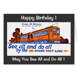 A linha rápida aniversário da costa do serviço do cartão comemorativo