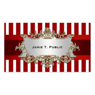 A listra branca vermelha fita vermelha ouro mold cartoes de visita