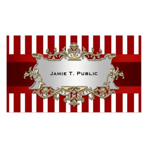 A listra branca vermelha, fita vermelha, ouro mold cartoes de visita