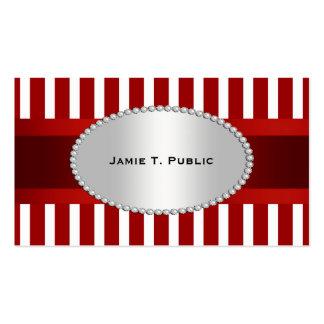 A listra branca vermelha fita vermelha ouro mold cartao de visita