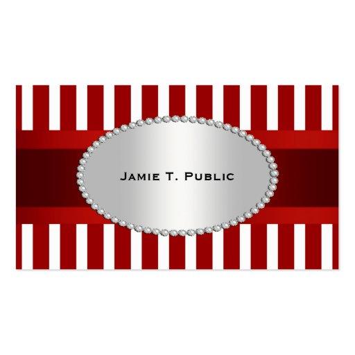 A listra branca vermelha, fita vermelha, ouro mold cartao de visita