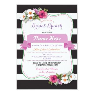 A listra cor-de-rosa floral do chá nupcial da convite 12.7 x 17.78cm