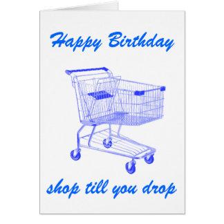 A loja lavra-o cartão de aniversário da gota