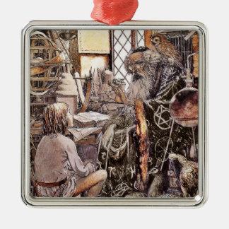 A loja mágica ornamento quadrado cor prata