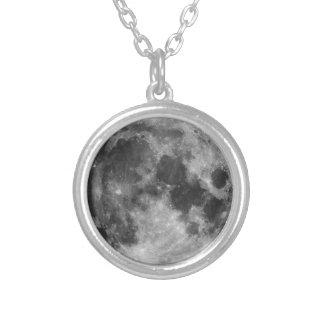 A Lua cheia Colar Banhado A Prata